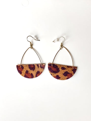 Pink Leopard Statement Vegan Leather Earring