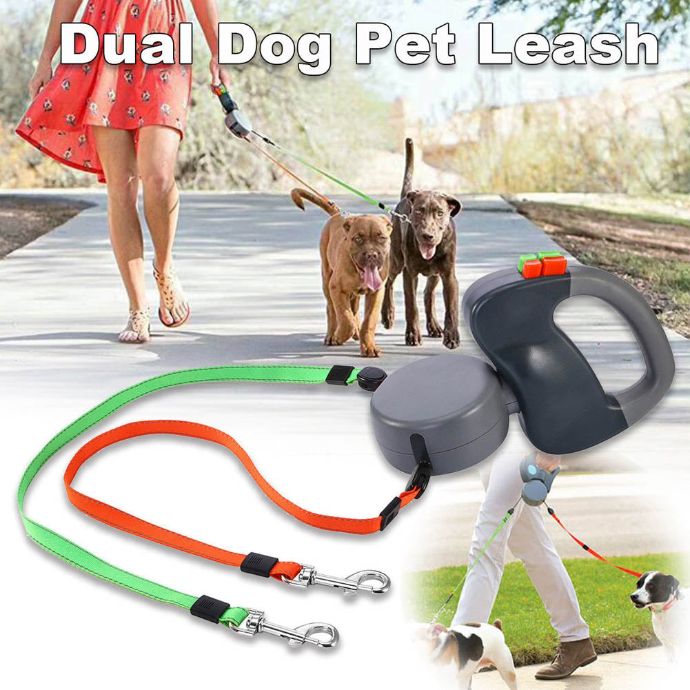 Dual Retractable Dog Walking Leash - 3 M Length