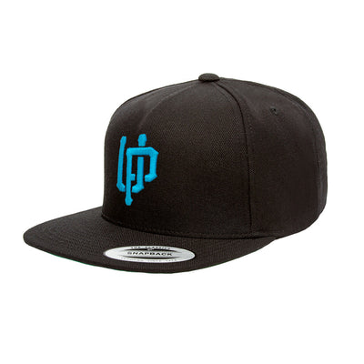 An image of our white snapback with a blue UP logo.