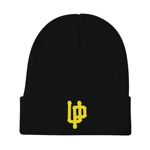 An image of our beanie with an embroidered yellow UP logo.