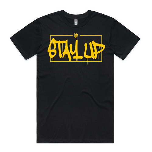 Gold Stay Up Black Tee