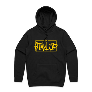 "An image of the Undercover Prodigy Gold ""Stay Up"" hoodie."