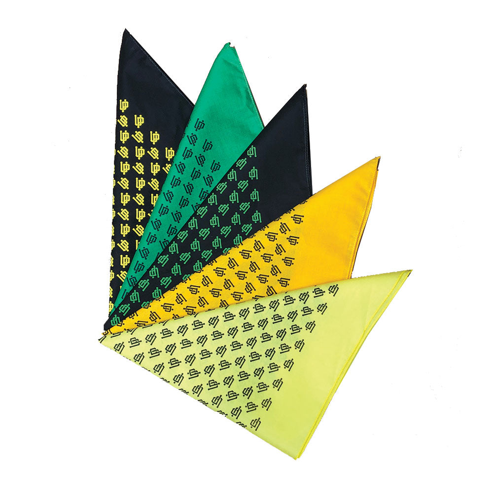 An image of our yellow, green, and black UP bandanas.