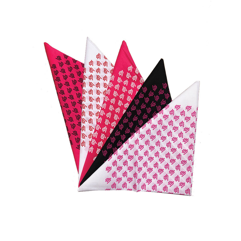 An image of our pink, white, and black UP bandanas.