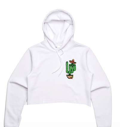 Women's Cactus Embroidery White Crop Hoodie