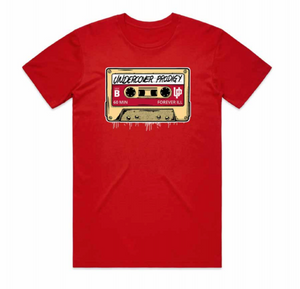 "An image of the UP ""Cassette Tape"" t-shirt in red/black."