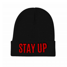 "Load image into Gallery viewer, An image of our black beanie with ""Stay Up"" embroidered on the front."