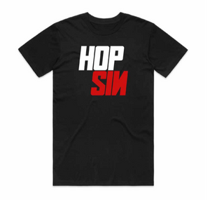 "An image of the Hopsin ""Duo-Hued"" logo t-shirt in black."