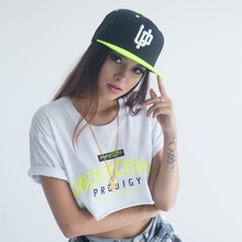 Load image into Gallery viewer, White UP Logo Lime Bill Snapback