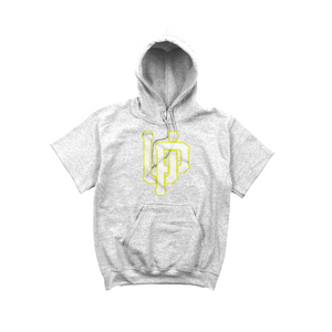 White w/ Lime UP Logo Gray Short Sleeve Hoodie