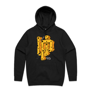 "An image of the UP ""Cheese Logo"" hoodie in black."