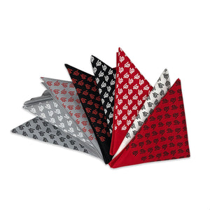 An image of our red, white, gray, and black UP bandanas.