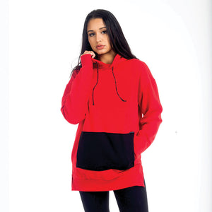 Red Oversized Men's Blank Hoodie