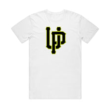 Load image into Gallery viewer, Black UP w/ Lime Logo White T-shirt