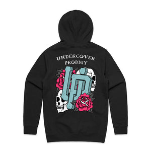 An image of our UP Traditional Tattoo Style Logo pullover hoodie.
