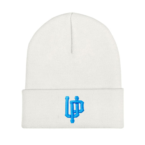 Blue UP Logo White Beanie
