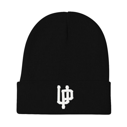 White UP Logo Black Beanie