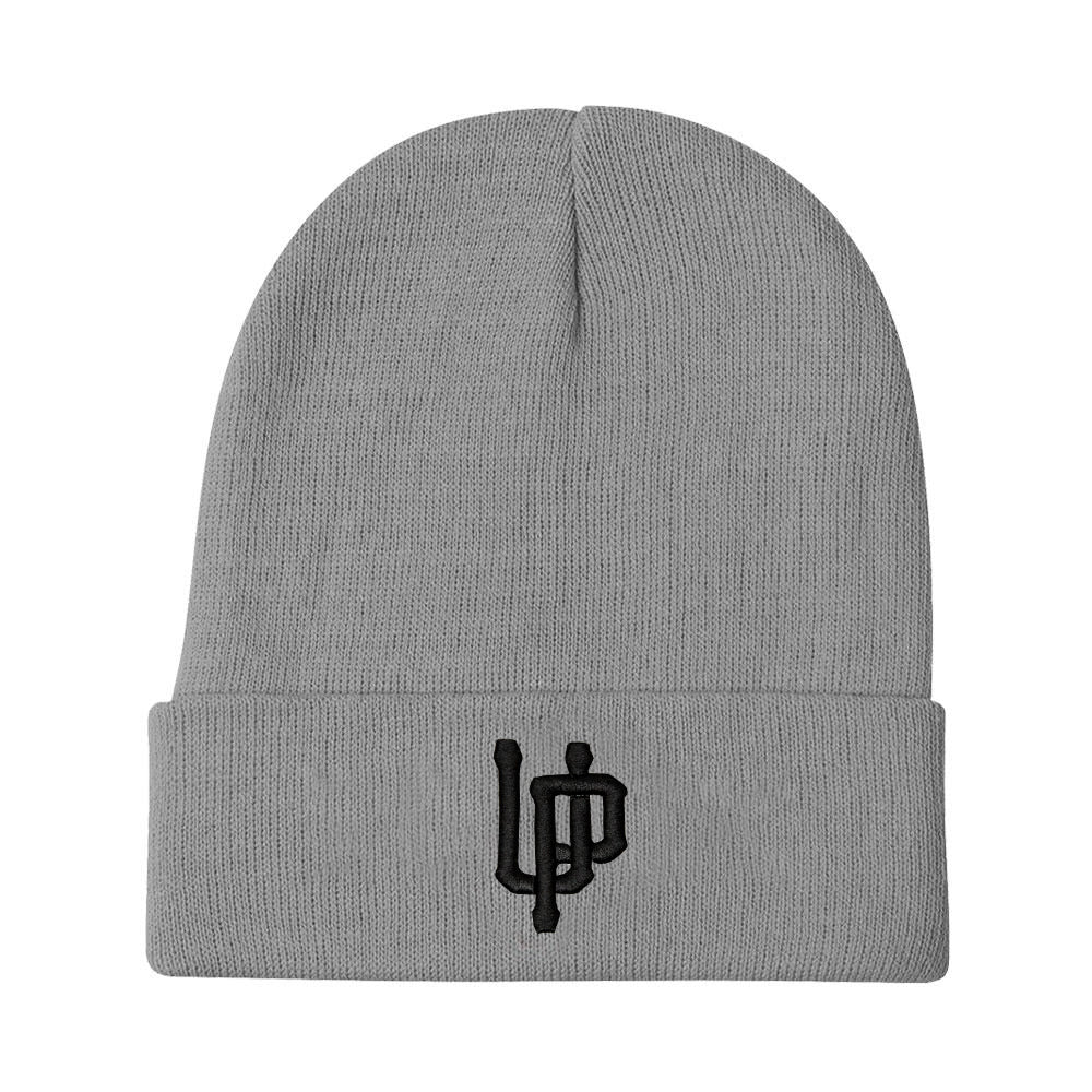 An image of our beanie with an embroidered black UP logo.