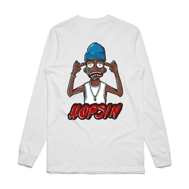 Hopsin Middle Finger White Long Sleeve Shirt