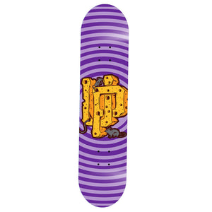 An image of the UP Cheese Logo Purple Skate Deck.