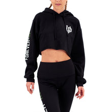Load image into Gallery viewer, Prodigy Crop-Top Hoodie Black Green Wave