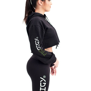 Prodigy Crop-Top Hoodie Black Green Wave