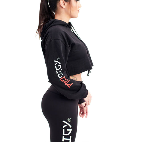Womens Prodigy Crop-Top Hoodie Black - Red Wave