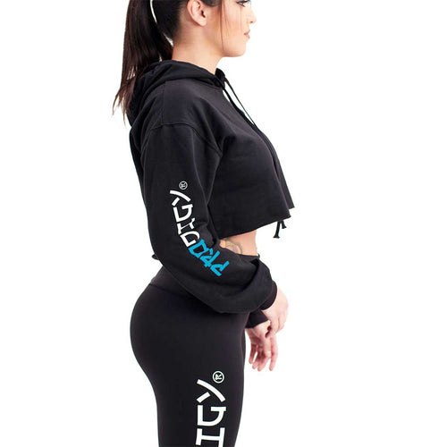 Blue Wave Prodigy Crop-Top Hoodie Black