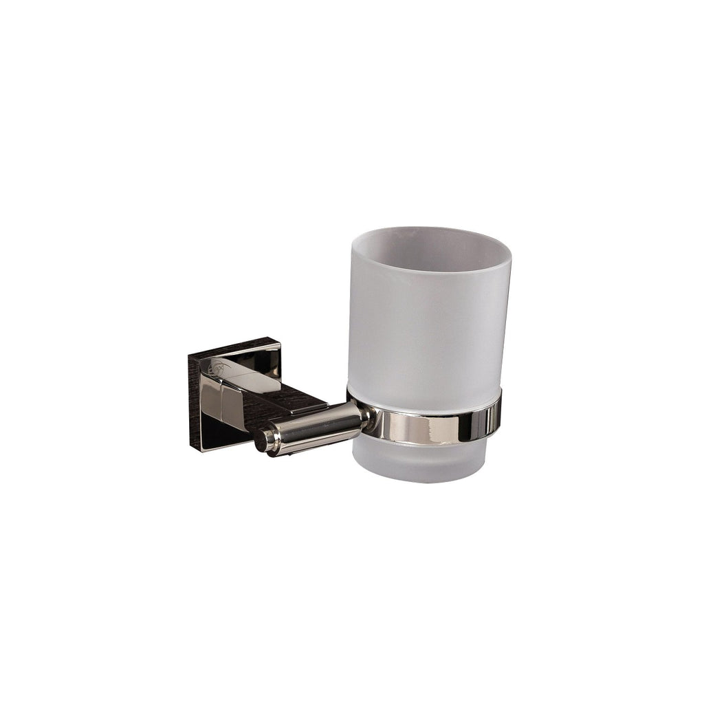 DAX Bathroom Single Tumbler Toothbrush Holder, Wall Mount Stainless Steel with Glass Cup, Satin Finish, 3-3/4 x 3-3/4 x 4-1/2 Inches (DAX-G0106-S)