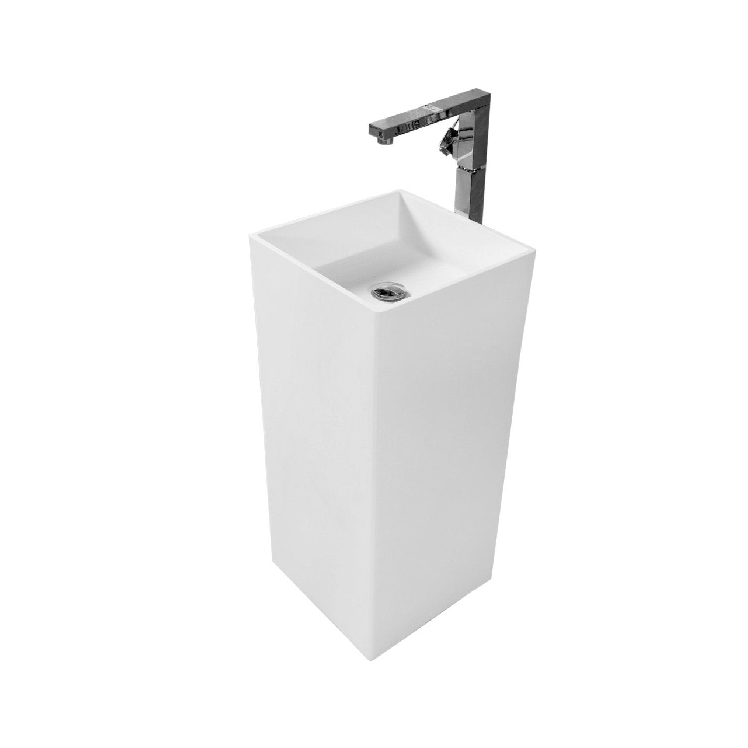 DAX Solid Surface Square Pedestal Freestanding Bathroom Sink, White Matte Finish, 15-3/4 x 15-3/4 x 34-1/2 Inches (DAX-AB-1382)