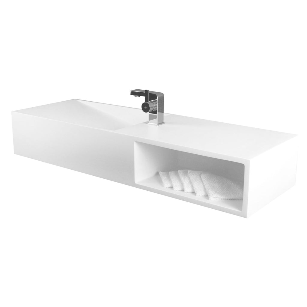 DAX Solid Surface Rectangle Single Bowl Bathroom Sink Cabinet, White Matte Finish,  47-1/4 x 16-1/2 x 7-7/8 Inches (DAX-AB-1365)