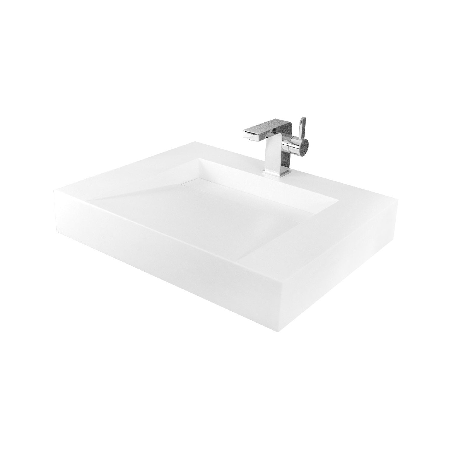 DAX Solid Surface Rectangle Single Bowl Wall Mount Bathroom Sink, White Matte Finish,  23-3/5 x 18-1/2 x 4 Inches (DAX-AB-1379)