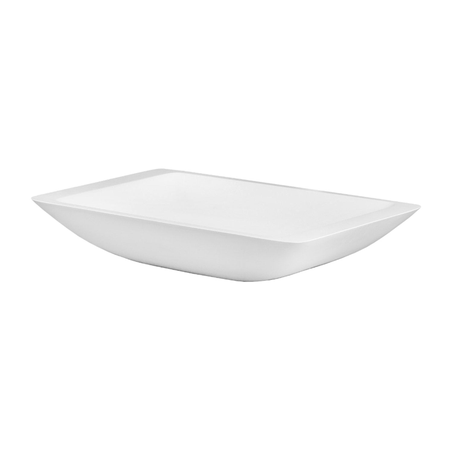 DAX Solid Surface Rectangle Single Bowl Bathroom Vessel Sink, White Matte Finish, 22-7/8 x 13-3/8 x 4 Inches (DAX-AB-1321)