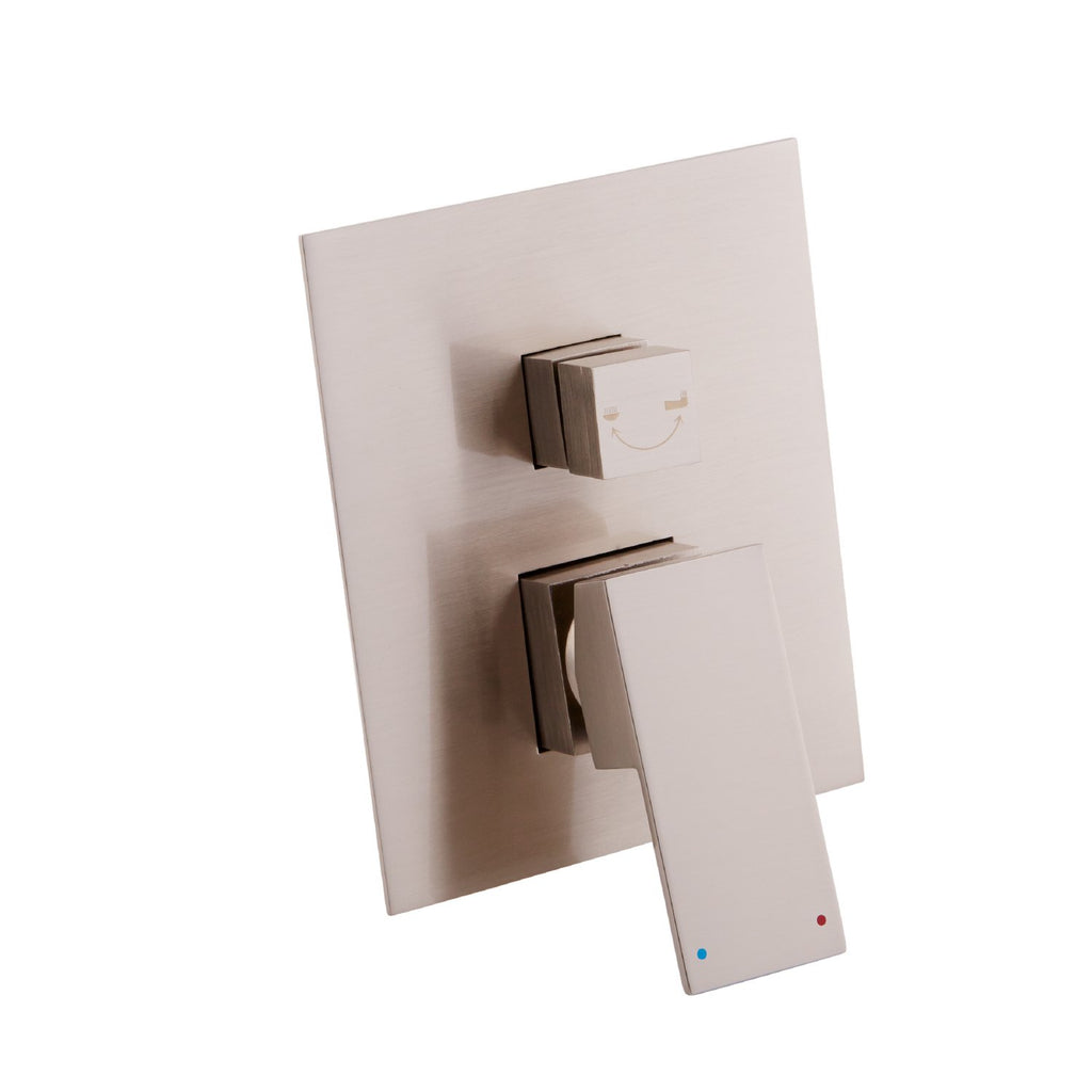 DAX Square Shower Single Valve Trim, Brass Body, Brushed Nickel Finish, 6-5/16 x 7-1/2 x 3-7/8 Inches (DAX-6973A-BN)