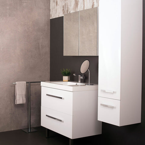 DAX MS800F White Single Vanity Cabinet with White Ceramic Sink, Side Cabinet and Medicine Cabinet Mirror, 2 Drawers with Soft Close, Width 32 Inches (DAX-MS800F-WHITE)