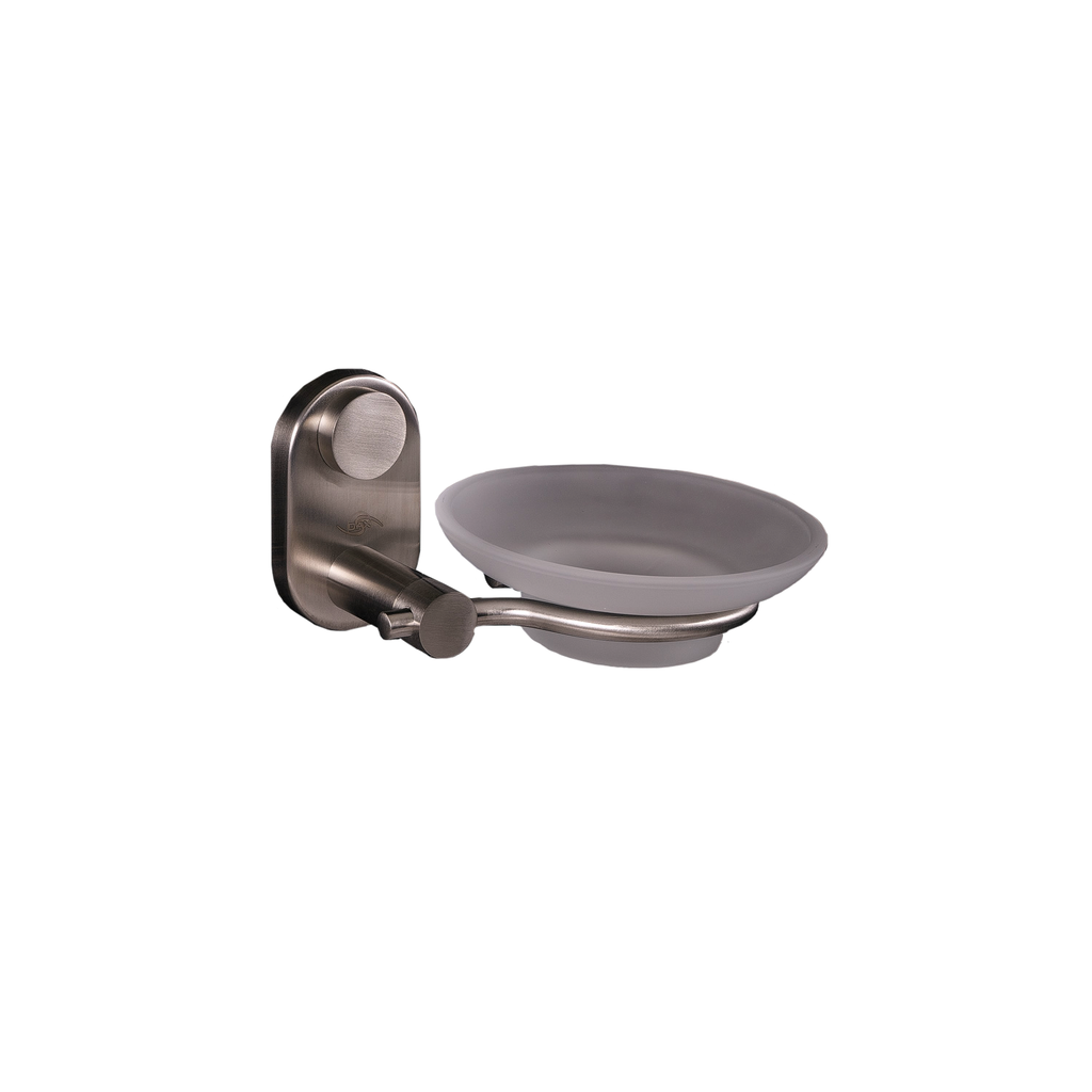 DAX Stainless Steel Soap Dish, Wall Mount with Glass Tray, Polish Finish, 2-13/16 x 5-1/2 x 4-1/2 Inches (DAX-G0205-P)