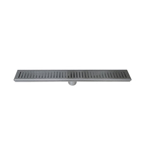DAX Rectangle Shower Floor Drain, Stainless Steel Body, Stainless Steel Finish, 48 x 3-3/8 Inches (DR48-G06)
