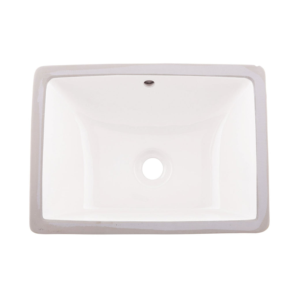 DAX Ceramic Square Single Bowl Undermount Bathroom Sink, White Finish, 18-1/2 x 13-1/2 x 8-1/16 Inches (BSN-202C-W)