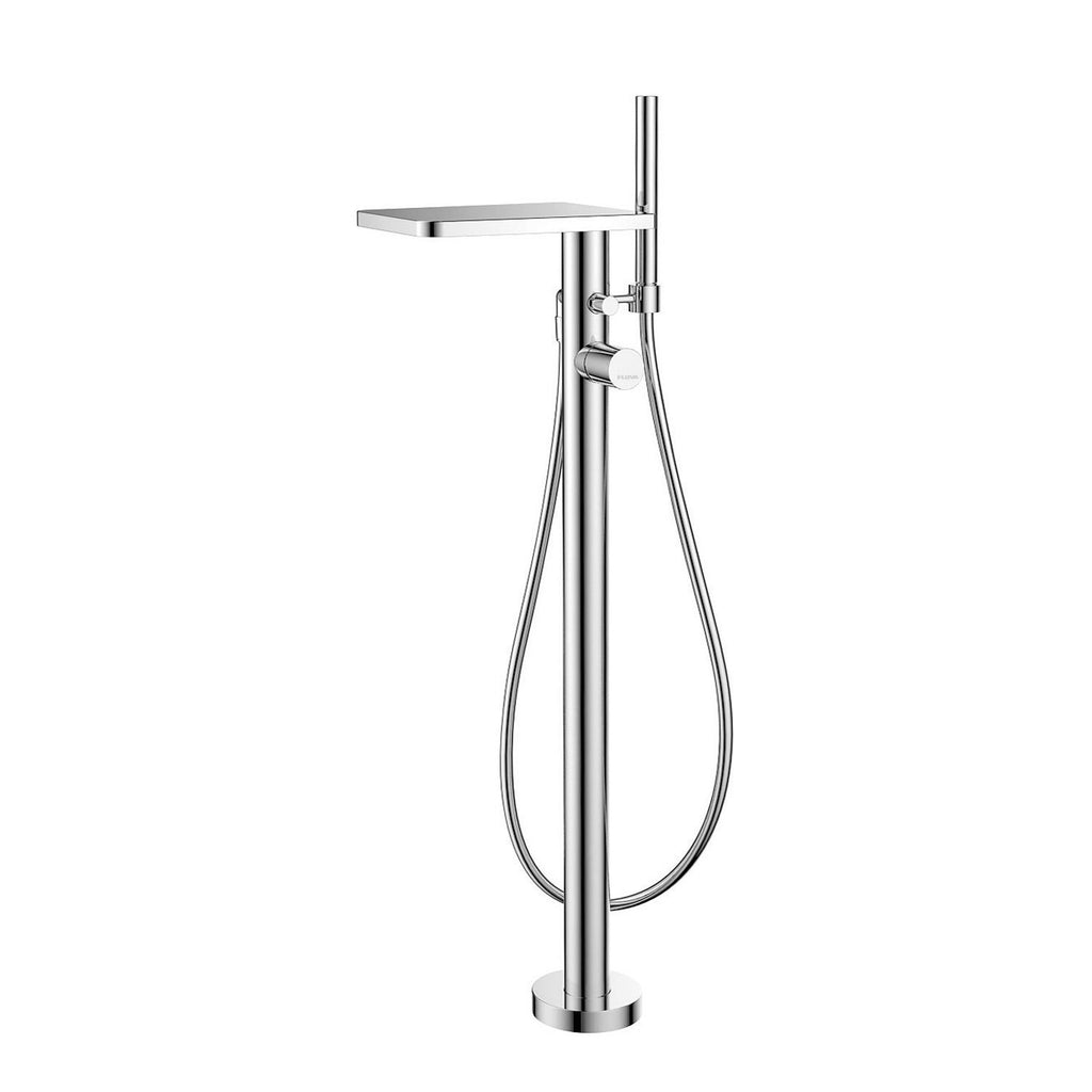 DAX Freestanding Hot Tub Filler with Hand Shower and Waterfall Spout, Brass Body, Chrome Finish, 7-7/8 x 36-1/8 Inches (DAX-8180)