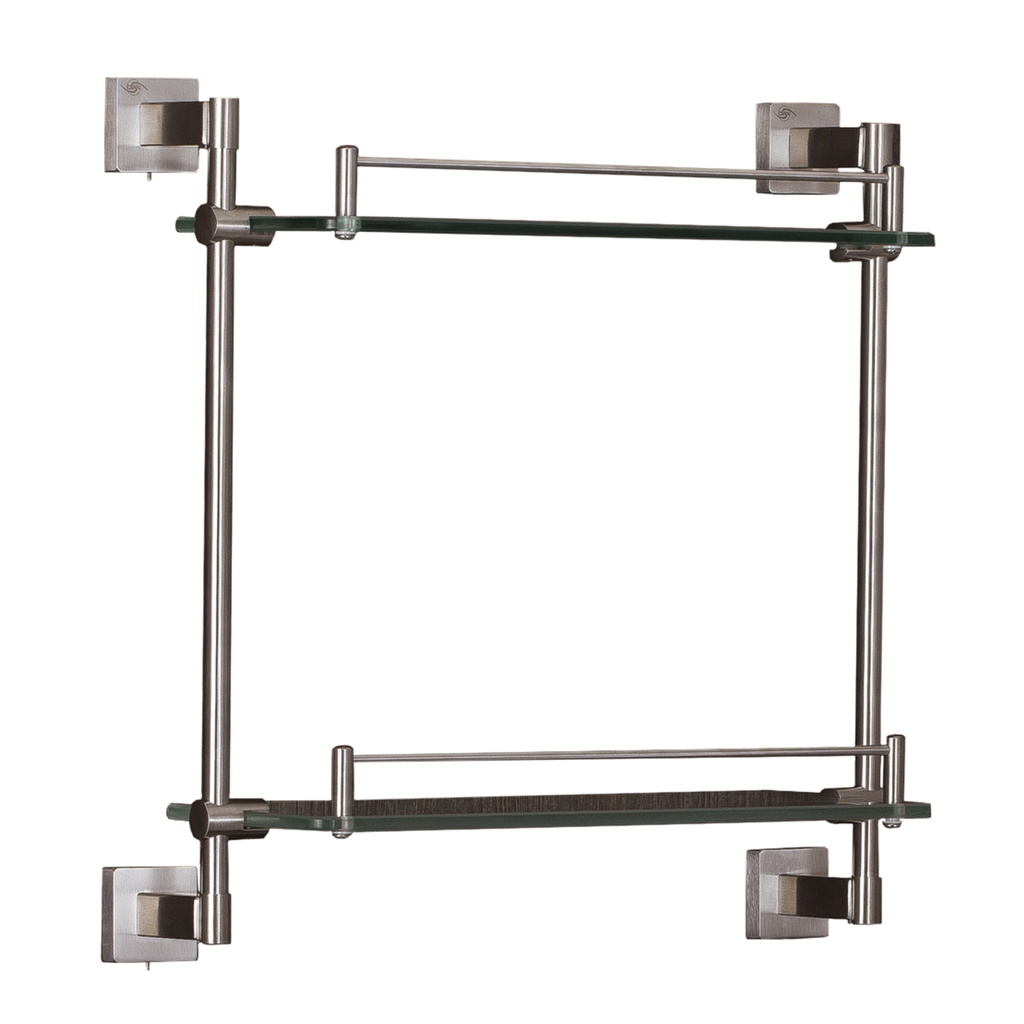 DAX Bathroom Double Tempered Glass Shelf, Wall Mount Stainless Steel, Polish Finish, 16-7/16 x 15-7/8 x 5-5/16 Inches (DAX-G0101-P)