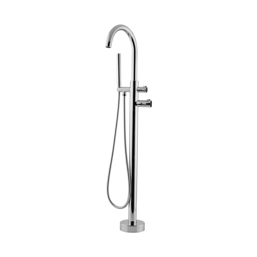 DAX Freestanding Tub Filler with Hand Shower and Gooseneck Spout, Stainless Steel Body, Chrome Finish, 5-13/16 x 45-13/16 x 9-7/16 Inches (DAX-807-CR)
