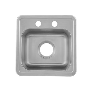 DAX  Single Bowl Top Mount Kitchen Sink, 23 Gauge Stainless Steel, Brushed Finish , 15 x 25 x 5-1/2 Inches (DAX-OM-1515)