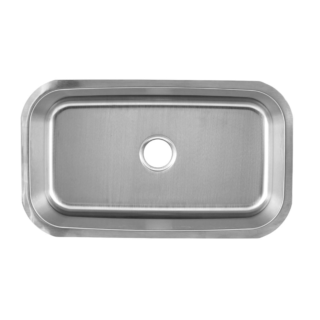 DAX Single Bowl Undermount Kitchen Sink, 18 Gauge Stainless Steel, Brushed Finish, 30 x 18 x 10 Inches (KA-3018)