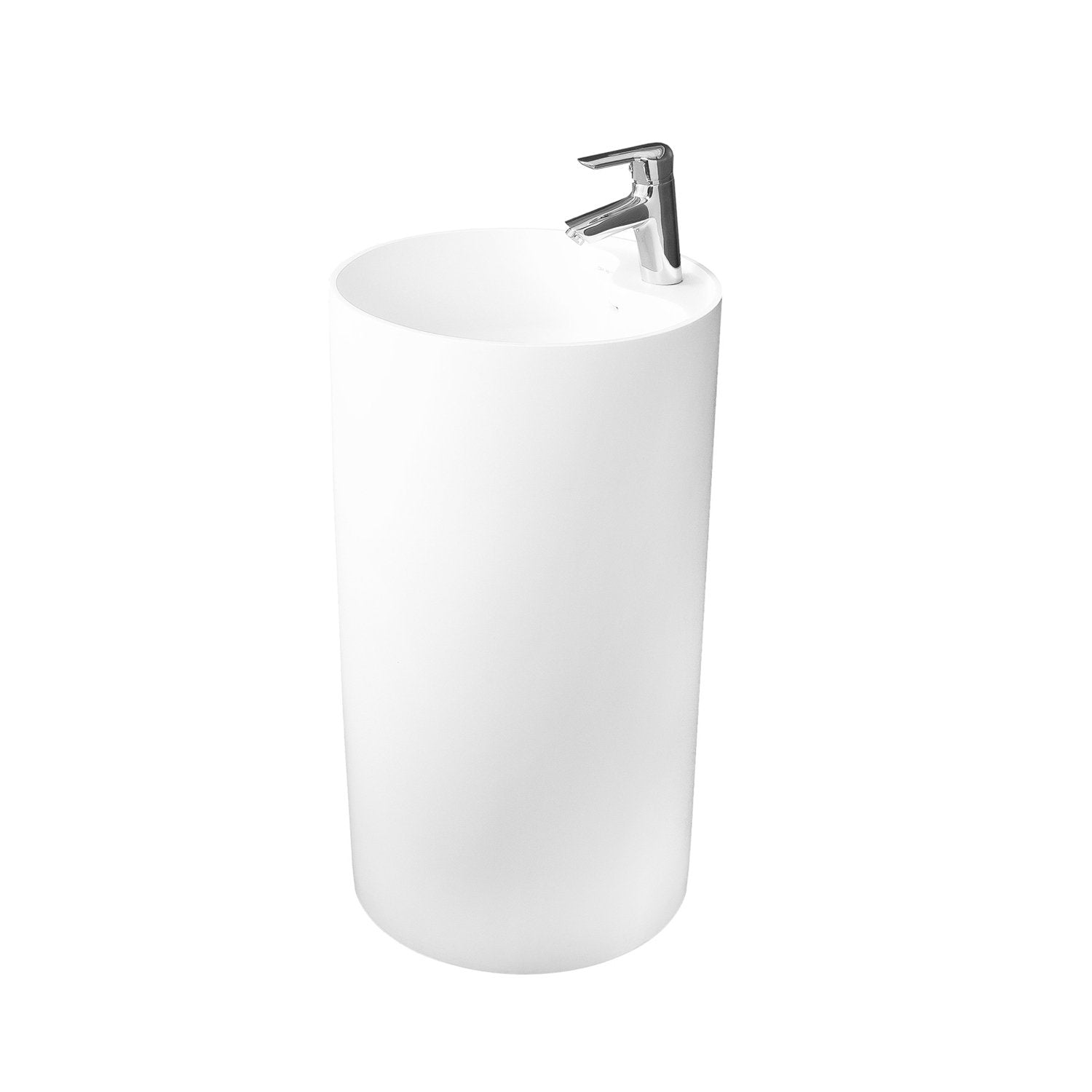 DAX Solid Surface Round Pedestal Freestanding Bathroom Sink, White Matte Finish, 17-1/2 x 17-1/2 x 31-1/2 Inches (DAX-AB-1380)