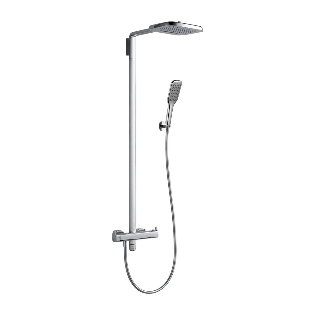 DAX Shower System, Faucet Set, with Square Rain Shower Head and Hand Shower, Wall Mount, Brass Body, Chrome Finish (DAX-8459)