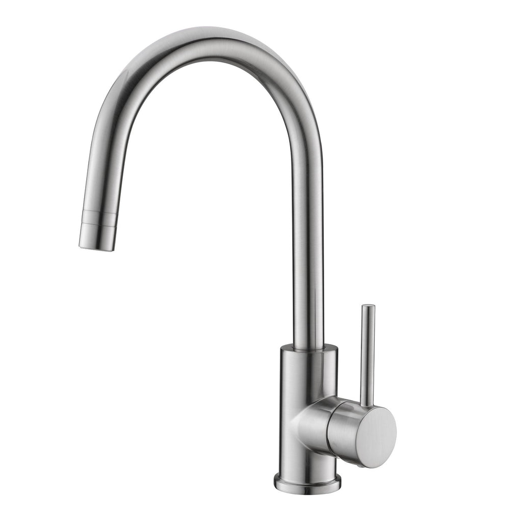 DAX Single Handle Kitchen Faucet with Swivel Spout, Brass Body, Brushed Nickel Finish, 7-1/4 x 13-11/16 Inches (DAX-6515-BN)