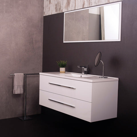 DAX MF718 White Single Vanity Cabinet with White Ceramic Sink and Mirror, 2 Drawers with Soft Close, Width 48 Inches (DAX-MF718-WHITE)