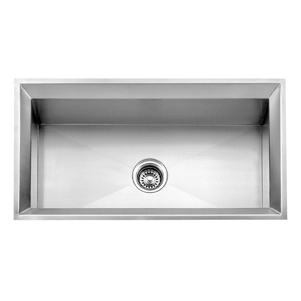 DAX Handmade Single Bowl Undermount Kitchen Sink, 16 Gauge Stainless Steel, Brushed Finish, 33 x 18 x 9-1/2 Inches (DAX-SQ-3318)
