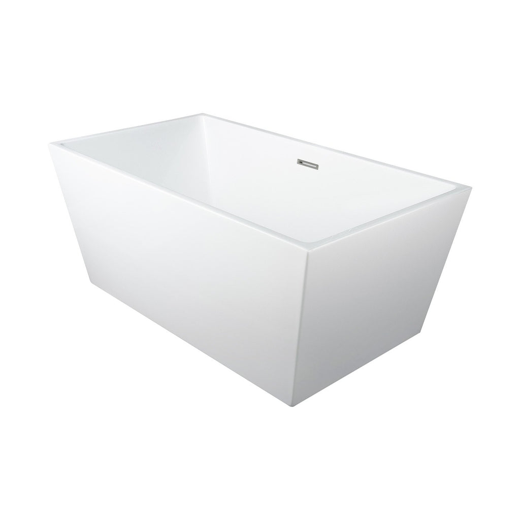 DAX Square Freestanding High Gloss Acrylic Bathtub with Central Drain and Overflow, Stainless Steel Frame, 59-1/16 x 23-5/8 Inches (BT-8013)