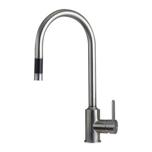 DAX Single Handle Pull Down Kitchen Faucet, Stainless Steel Shower Head and Body, Brushed Finish, Size 8-7/16 x 16-11/16 Inches (DAX-C20S)